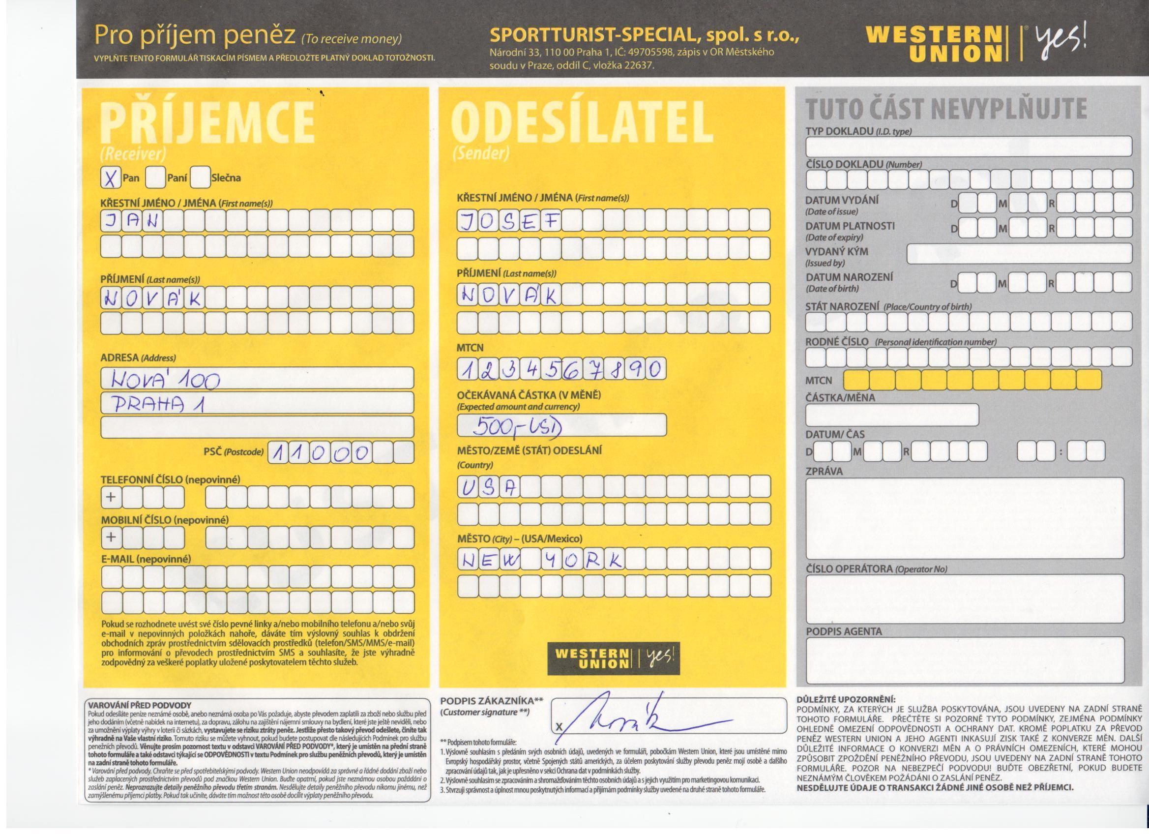 western union geldtransfer formular pdf