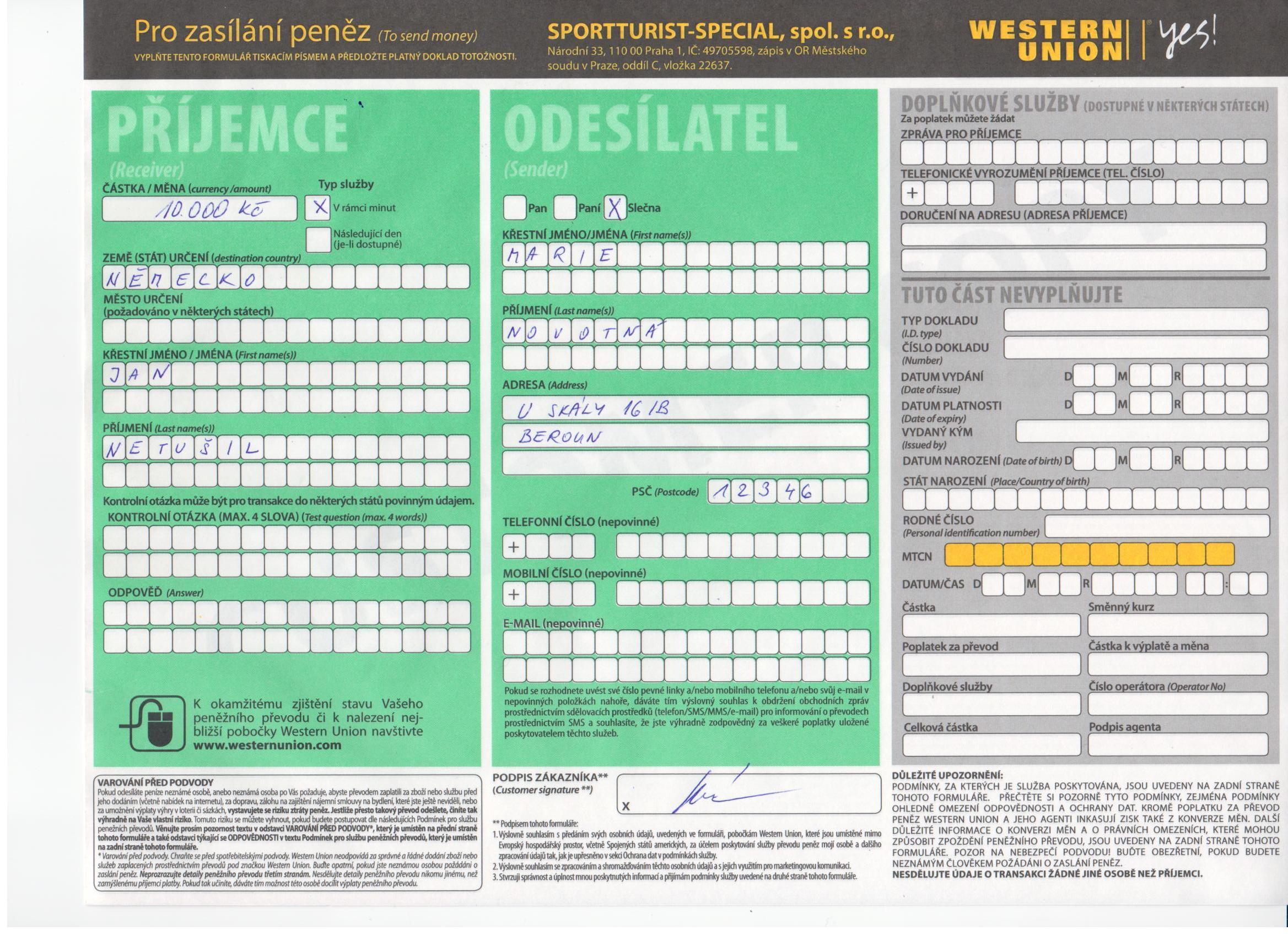 Formular Western Union